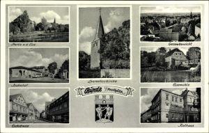 Wappen Ak Bünde im Kreis Herford, Bahnhof, Elsepartie, Mühle, Rathaus, Laurentiuskirche