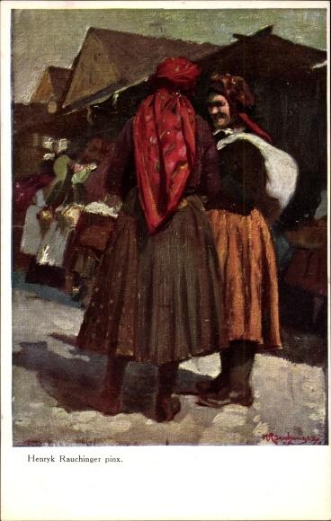 Künstler Ak Rauchinger, Henryk, Zwei Frauen in Volkstrachten auf dem Markt