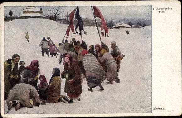Künstler Ak Axentowicz, T., Jordan, Personen mit Fahnen im Schnee