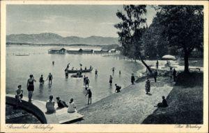 Ak Feldafing in Oberbayern, Badegäste im Strandbad