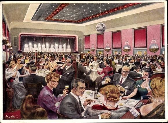 Künstler Ak Berlin Kreuzberg, Ballhaus Resi, Hasenheide 32 - 38, Abendgesellschaft im Ballsaal