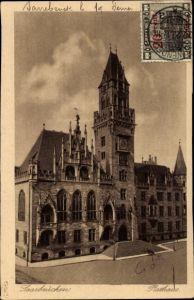 Ak Saarbrücken im Saarland, Blick auf das Rathaus