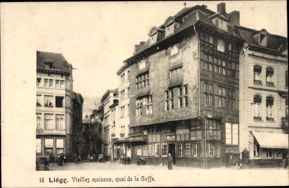 Ak Liège Lüttich Wallonien, Vieilles maisons, quai de la Goffe, Straßenpartie