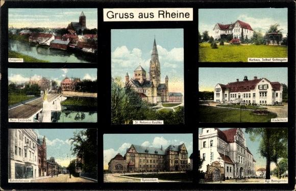 Ak Rheine in Nordrhein Westfalen, Solbad Gottesgabe, Kinderheim, Amtsgericht, Basilika, Gymnasium