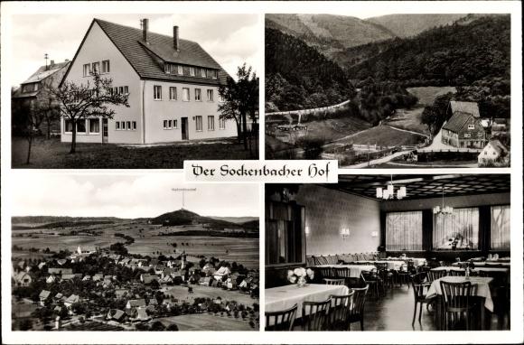 Ak Strümpfelbrunn Waldbrunn im Odenwald, Der Sockenbacher Hof, Bes. Alfred Habel, Panorama vom Ort