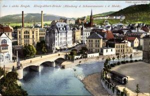 Ak Aue im Erzgebirge Sachsen, Blick auf die König Albert Brücke, Mündung v. Schwarzwasser und Mulde
