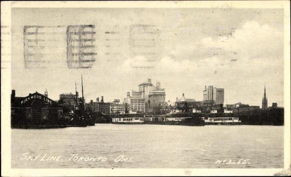Ak Toronto Ontario Kanada, Sky Line, Blick vom Wasser auf die Stadt, Kirkwood Line, Schiffsanleger