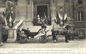 Ak Alphonse XIII à Paris 1905, Ministère des Affaires Etrangères, Alfons XIII. König von Spanien