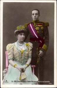 Ak Don Alfonso y Dona Victoria Reyes de Espana, Alfons XIII. König von Spanien