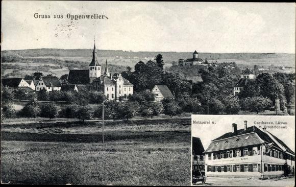 Ak Oppenweiler Rems Murr Kreis, Panorama, Kirche, Metzgerei u. Gasthaus zum Löwen von Ernst Scheub