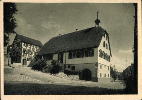 Ak Schnait Weinstadt im Rems Murr Kreis, Komponist Friedrich Silcher, Geburtshaus, Dorfansicht