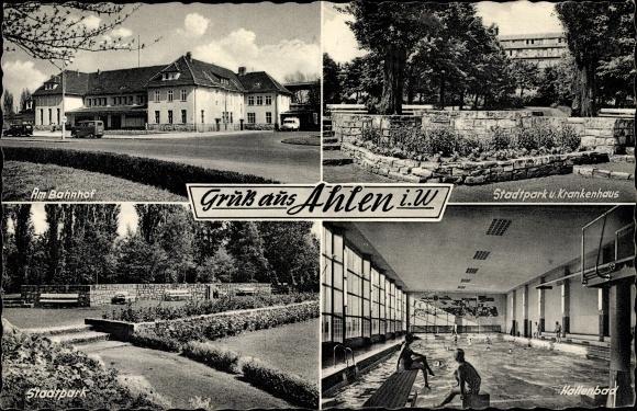 Ak Ahlen im westfälischen Münsterland, Bahnhof von der Straße, Stadtpark, Krankenhaus, Hallenbad