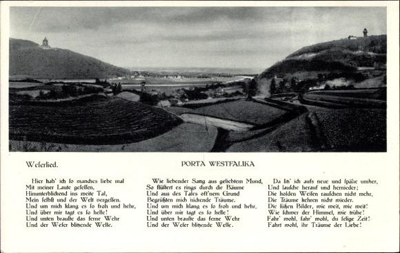 Lied Ak Porta Westfalica in Nordrhein Westfalen, Panorama, Weserlied