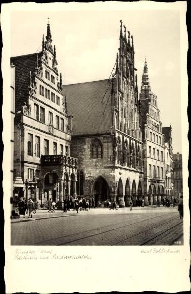 Ak Münster in Westfalen, Rathaus und Stadtweinhaus, Giebelhäuser, Fassaden