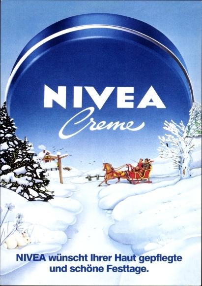 Ak Reklame, Nivea Creme, Pferdeschlitten in Winterlandschaft, Beiersdorf AG