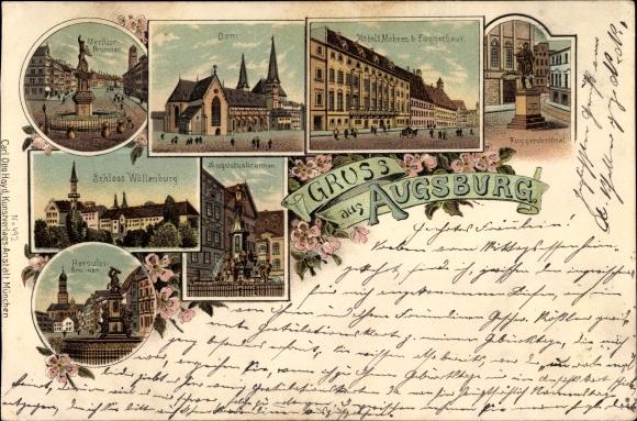 Litho Augsburg in Schwaben, Merkurbrunnen, Dom, Hotel 3 Mohren, Fuggerhaus, Schloss Wöllenburg