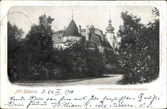 Ak Altdöbern Brandenburg, Gräfl. Schloss vom Park aus gesehen