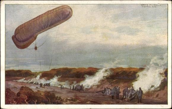 Künstler Ak Schulze, Hans Rudolf, Fesselballon unter Artilleriewirkung beobachtend