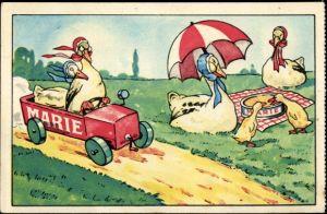 Künstler Ak Foies Gras Marie, Reklame für Gänsestopfleber, Automobil