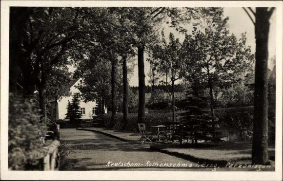 Foto Ak Kretscham Rotensehma Sehmatal Erzgebirge, Partie in den Parkanlagen