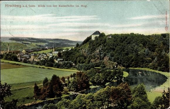 Ak Hirschberg an der Saale, Blick von der Kaiserhöhe im Hag, Ort mit Umgebung