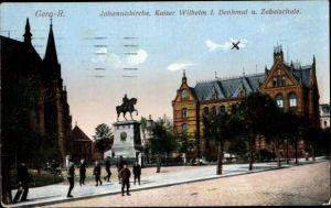 Ak Reuß Gera in Thüringen, Johanniskirche, Kaiser Wilhelm I. Denkmal und Zabelschule