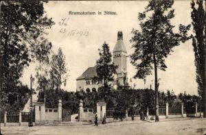 Ak Zittau in der Oberlausitz, Krematorium, Straßenansicht und Eingangstor
