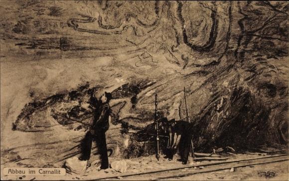 Ak Staßfurt im Salzlandkreis, Abbau im Carnallit, Bergmänner im Schacht bei der Arbeit
