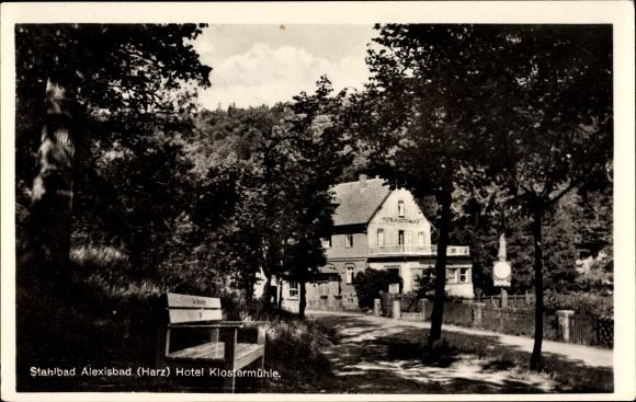 Ak Alexisbad Harzgerode am Harz, Hotel Klostermühle, Wegpartie