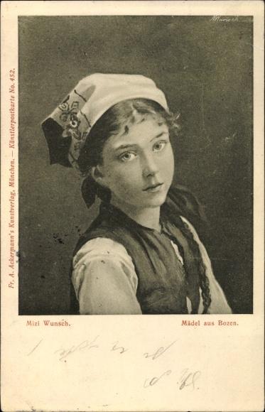 Künstler Ak Wunsch, Mizi, Mädel aus Bozen, Portrait