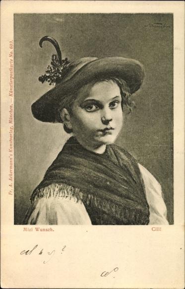Künstler Ak Wunsch, Mizi, Cilli, Portrait eines Kindes