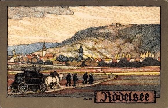 Steindruck Ak Greiner, Wilhelm, Rodelsee im Kreis Kitzingen Unterfranken, Pferdewagen, Panorama