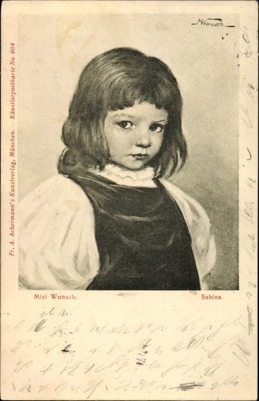 Künstler Ak Wunsch, Mizi, Sabina, Portrait, Mädchen