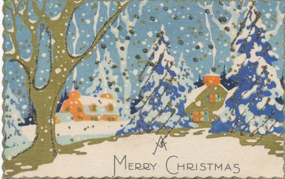Frohe Weihnachten Glitzer.Glitzer Ak Frohe Weihnachten Merry Christmas Hauser In Verschneiter Winterlandschaft