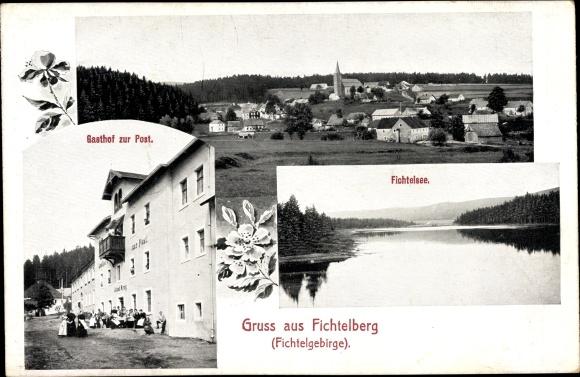 Ak Fichtelberg im Fichtelgebirge Oberfranken Bayern, Gasthof zur Post, Fichtelsee
