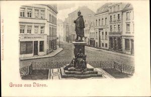 Ak Düren in Nordrhein Westfalen, Straßenpartie mit Denkmal, Möbelmagazin Jakob Mechernich, Geschäfte