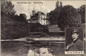Ak Berg am Starnberger See in Oberbayern, Schloss Berg, König Ludwig II. von Bayern