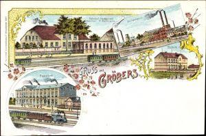 Litho Gröbers Kabelsketal Sachsen Anhalt, Bahnhofsrestaurant P. Hoffmann, Zuckerfabrik, Bahnhof