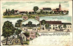 Litho Sitzenroda Belgern Schildau in Nordsachsen, Schule, Kirche, Gasthaus zum goldnen Fass