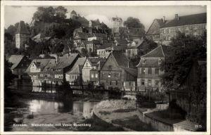 Ak Kronach im Frankenwald Bayern, Wasserstraße mit Veste Rosenberg