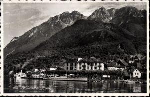 Ak Saint Gingolph Kt. Wallis Schweiz, Hotel Beau Rivage, Uferpartie, Hafen, Dampfer