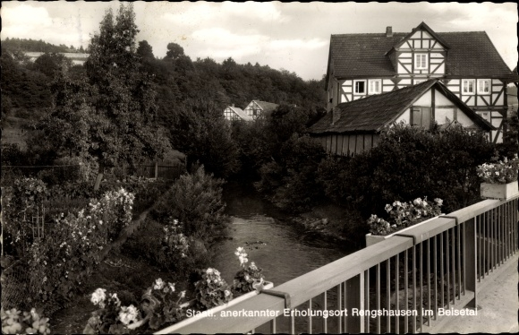 Ak Rengshausen Knüllwald in Hessen, Teilansicht, Fluss