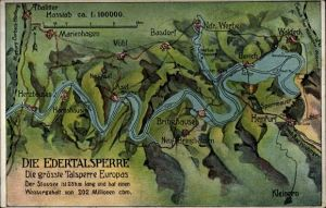 Landkarten Ak Vöhl in Nordhessen, Edertalsperre und Umgebung, Hemfurt, Bringhausen, Waldeck