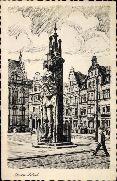 Künstler Ak Hansestadt Bremen, Partie am Markplatz, Der Bremer Roland