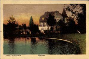 Ak Recklinghausen im Ruhrgebiet, Teichpartie im Stadtpark, Sonnenuntergang