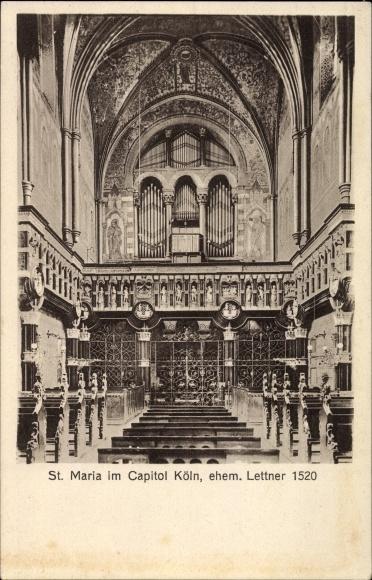 Ak Köln am Rhein, St. Maria im Capitol, Innenansicht