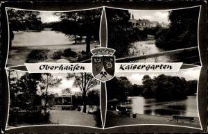 Ak Oberhausen im Ruhrgebiet, Blick auf den Kaisergarten, Wappen