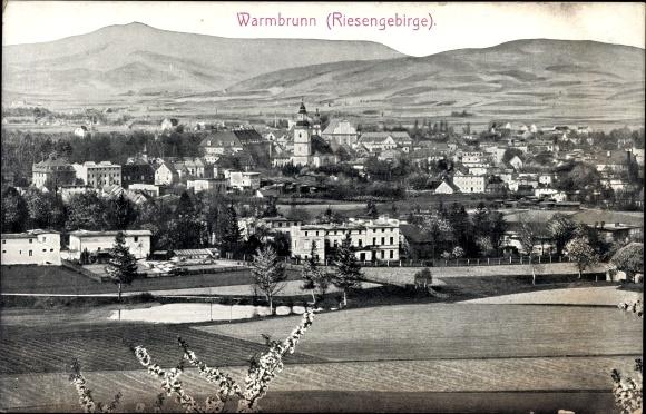 Ak Cieplice Śląskie Zdrój Bad Warmbrunn Schlesien, Blick auf den Ort