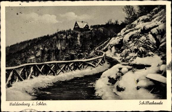 Ak Wałbrzych Waldenburg Schlesien, Schillerbaude, Winter