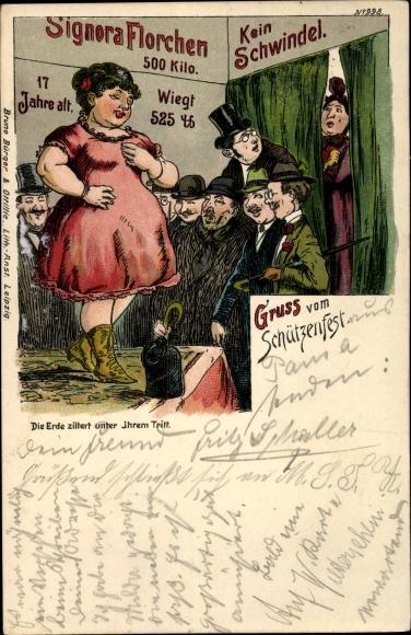 Litho Die Erde zittert unter ihrem Tritt, Bruno Bürger 998, Signora Florchen, Schwere Dame, 500 Kilo